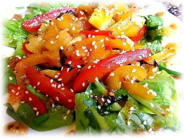 рецепт салат с горячей свининой