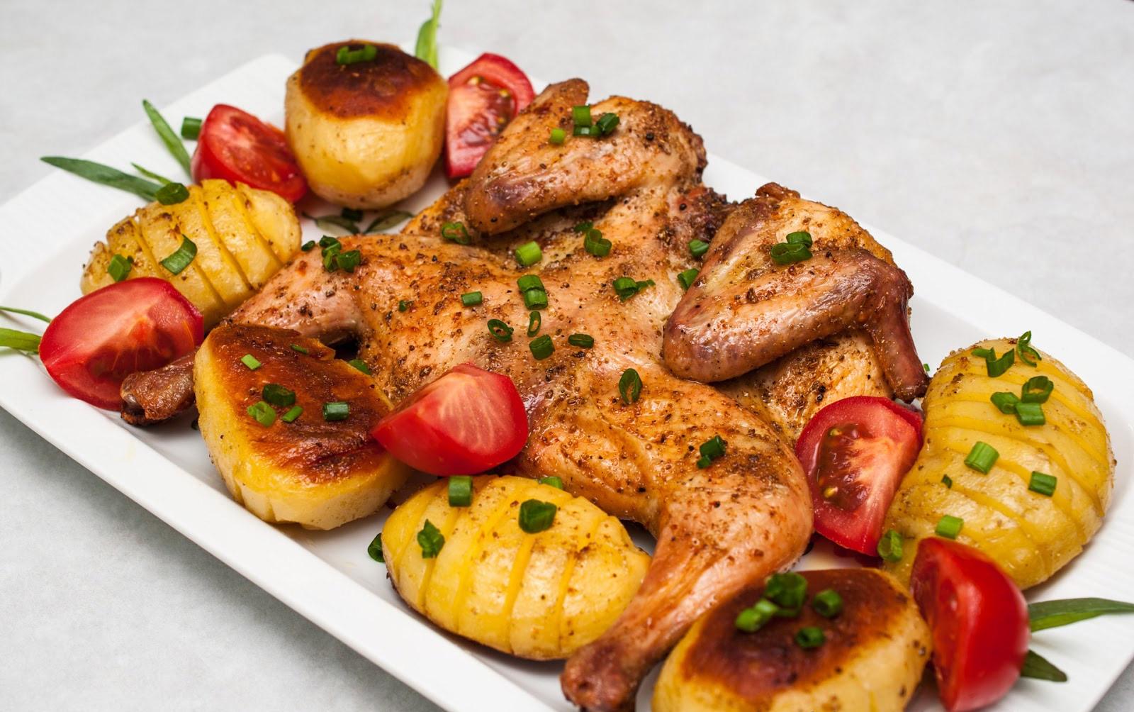 курочка с овощами в духовке рецепт с фото