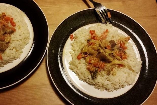 Рис с грибами и сметаной