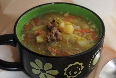 Суп с говяжьим фаршем в мультиварке