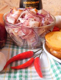 Салат из сала с луком